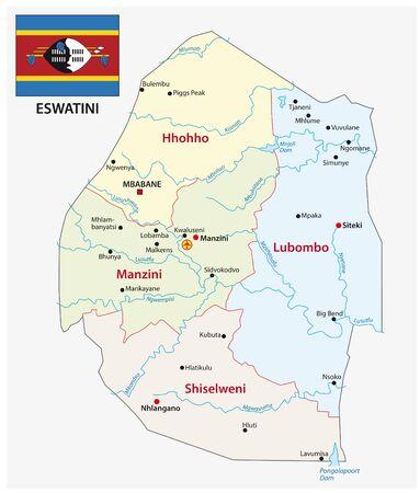 Administrative und politische Karte des Königreichs Eswatini Vektorgrafik