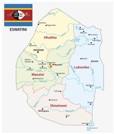 Kingdom of Eswatini administrative and political map Vector Illustratie