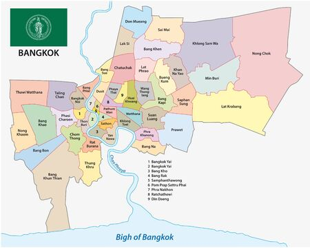 bangkok administrative and political map with flag  イラスト・ベクター素材