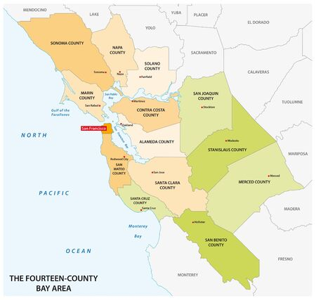 Administrative map of the California region San Francisco Bay Area Stock Illustratie