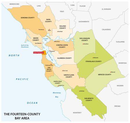 Administrative map of the California region San Francisco Bay Area Illustration