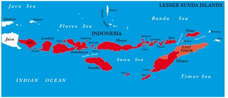 Map of the Lesser Sunda Islands in the Malay Archipelago Illustration