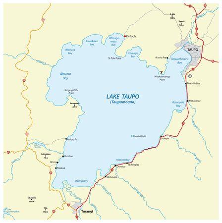 Map of Lake Taupo on the North Island of New Zealand Ilustracja