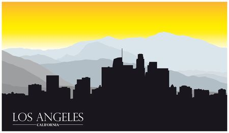 Los Angeles california skyline with mountains and lettering