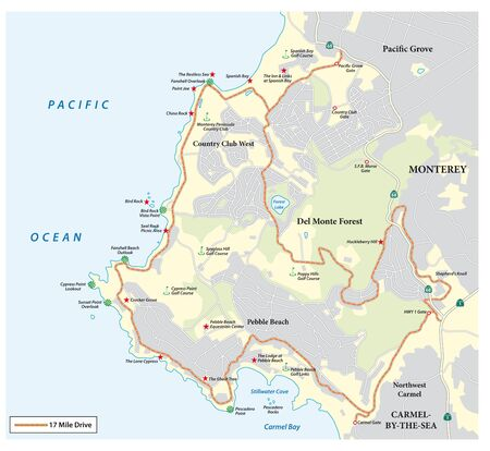 Map of Seventeen Mile Drive a scenic road through Pebble Beach and Pacific Grove on the Monterey Peninsula in California Ilustração