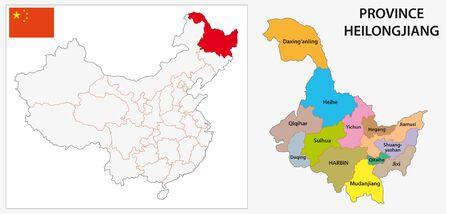 Mapa administracyjna i polityczna prowincji Heilongjiang