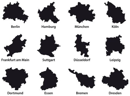 Black outline maps of the 12 most populous cities of the Federal Republic of Germany