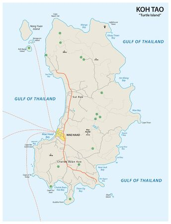 Map of the Thai island Koh Tao in the Gulf of Thailand