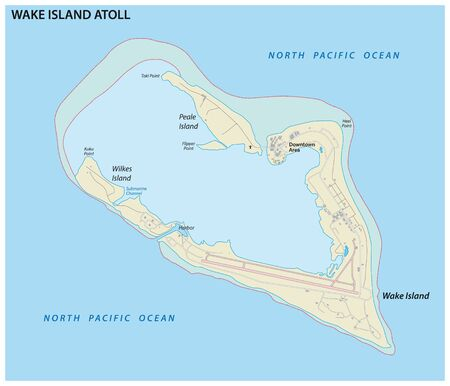 Map of the Wake island Atoll an unorganized territory of the United States 일러스트