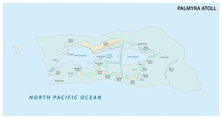 Map of the Palmyra Atoll an unorganized territory of the United States