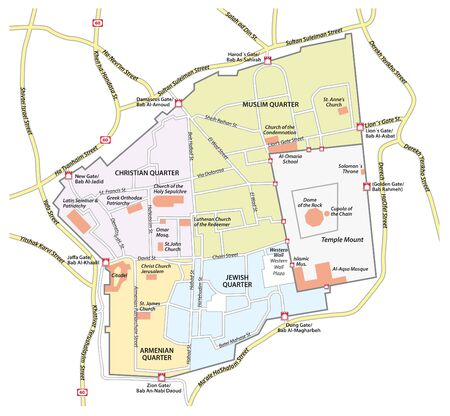 Map of the old city of Jerusalem
