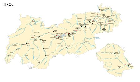 Map of the Austrian state of Tyrol Illustration