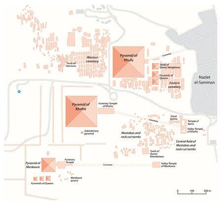 Carte du complexe pyramidal de Gizeh Egypte