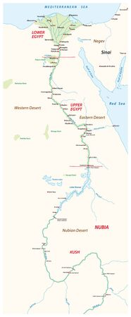 Ancient Egypt map with important sights on the nile river