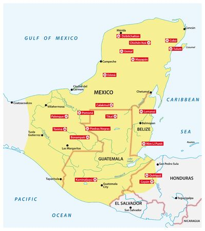 Map of the Mayan Empire with the most important cities in Central America Çizim