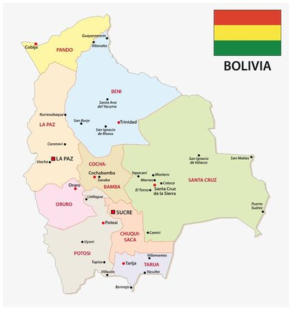 mapa administrativo de bolivia con bandera y principales ciudades