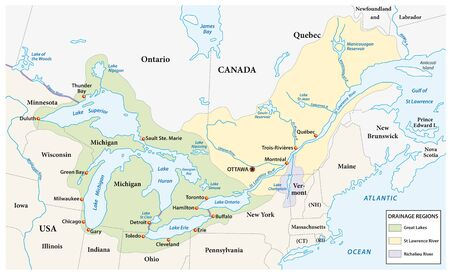 Map of the great lakes and st lawrence river drainage aregions 일러스트