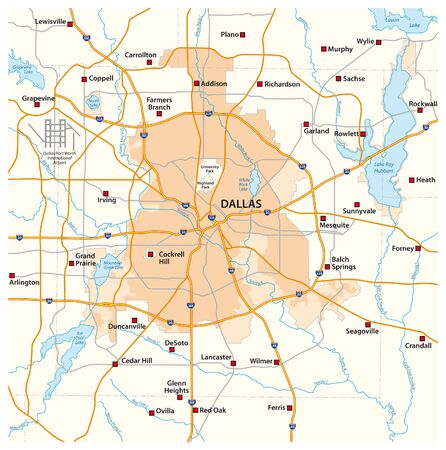 overview and street map of texas city dallas