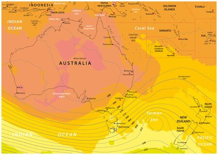 Imaginary weather map of Australia and New Zealand Ilustração