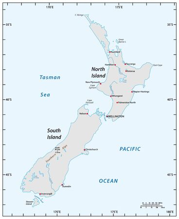 simple map of New Zealand with degrees of longitude and latitude