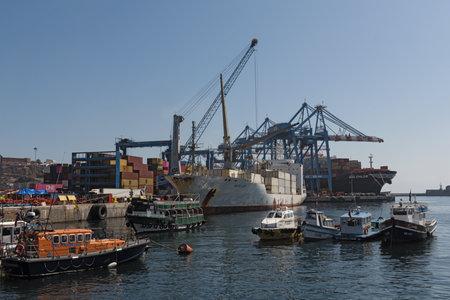 Muelle Prat Pier in Valparaiso Harbor, Chile 新聞圖片