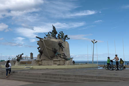 Monument to the crew of Goleta Ancud on the waterfront in Punta Arenas, Chile
