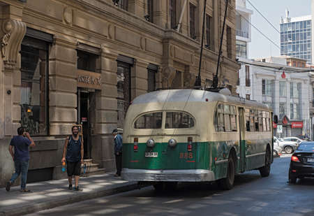 Trolleybus in downtown Valparaiso, Chile Editorial