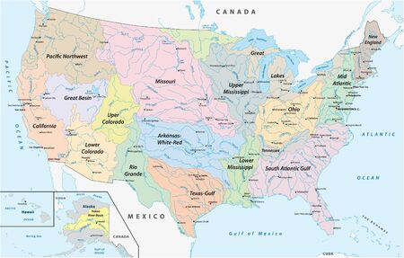 Map of the watersheds in the United States of America Ilustração