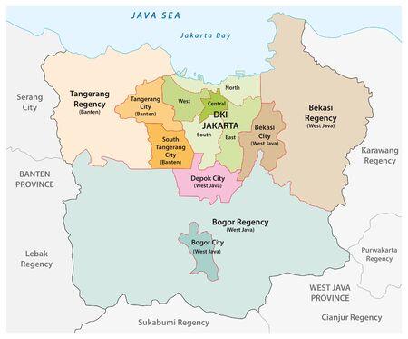 Administrative vector map of the Jakarta metropolitan area, the most populous metropolitan area in Indonesia