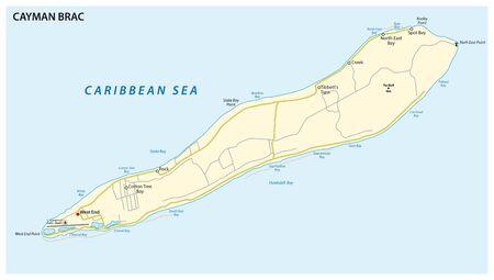 Map of Cayman Brac, an island in the Cayman Islands, UK