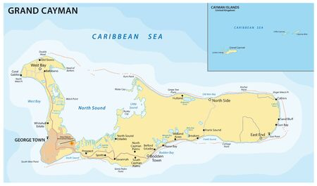 Vector road map of the Caribbean island of Grand Cayman Ilustrace