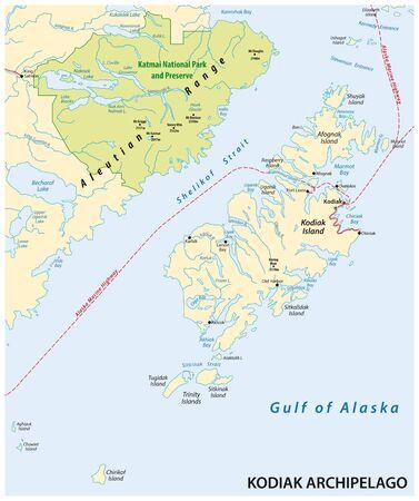 vector map of the Kodiak Archipelago belonging to the US state of Alaska Illusztráció