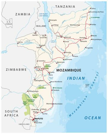 mozambique road and national park vector map 向量圖像