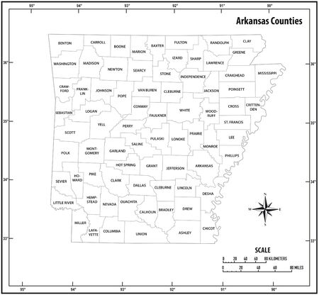 Arkansas state outline administrative and political map in black and white