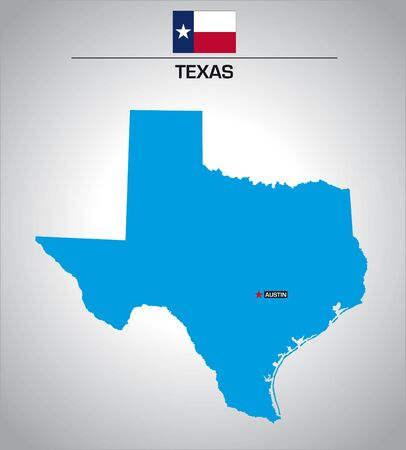 simple vector outline map of texas with flag