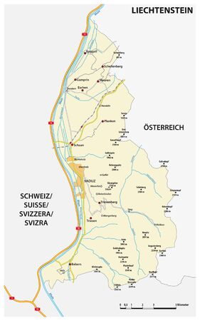 vector road map Principality of Liechtenstein in German language