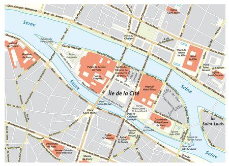 Vector street map of Ile de la Cite in Paris, France Illustration
