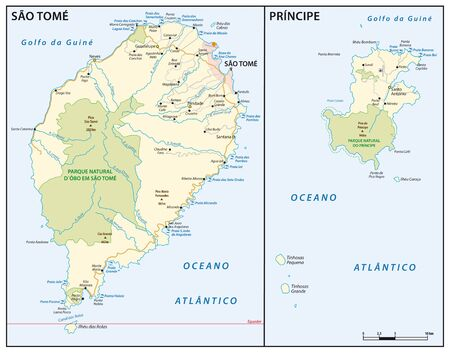Vector map of the West African island state of Sao Tome and Principe