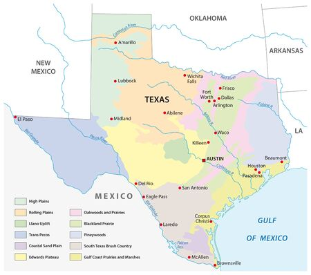 Vector map of the physical regions of Texas