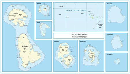Vector map of the Leeward Islands belonging to the French Society Islands