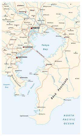 Road vector map of the bay of Tokyo metropolitan area on the Pacific coast Vector Illustratie
