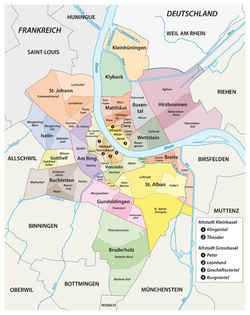 Administrative vector map of the quarters of Basel in German language, Switzerland