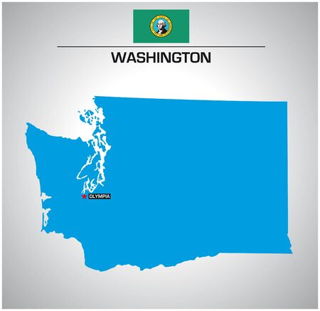 simple vector outline map of washington with flag