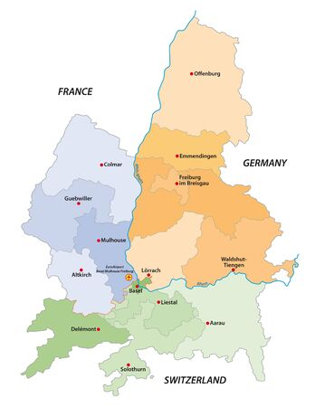 vector map of the European economic region Regiotrirhena, France, Switzerland and Germany Illustration