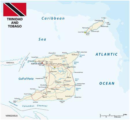 trinidad and tobago road vector map with flag