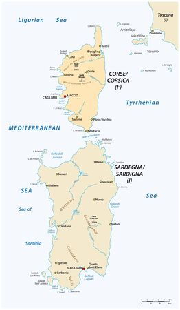 Vector map of the two mediterranean sea islands of corsica and sardinia