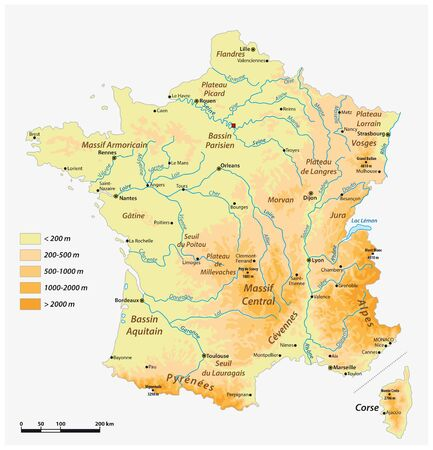 Detailed physical vector map of the French republic
