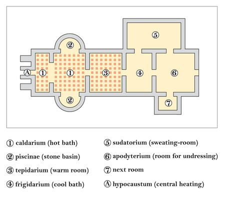 floor plan of a roman bath, Thermae