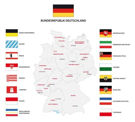 Vector administrative map of Federal Republic of Germany with the flags of the federal states