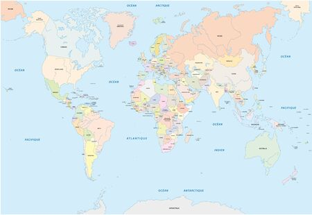 world map in french language
